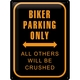 Peltikyltti 30x40 Biker Parking Only