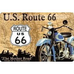 Peltikyltti 20x30 Route 66 sininen moottoripyörä