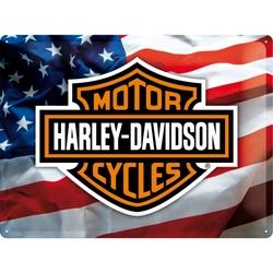 Peltikyltti 30x40 Harley-Davidson Amerikan lippu