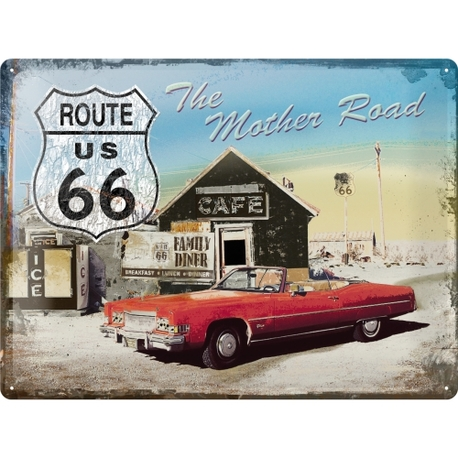 Peltikyltti 30x40 Route 66 punainen auto